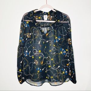 CAbi Victoria Printed Buttoned Blouse Style 3861